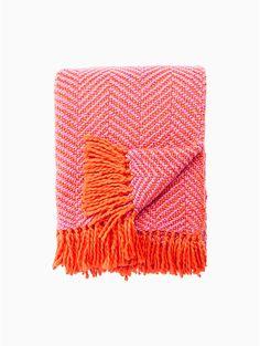 seaport herringbone throw blanket by kate spade new york Orange Blanket, Orange Throw Pillows, Boho Room, Bedding Collections, Designing Women, Kate Spade, Herringbone, Houses