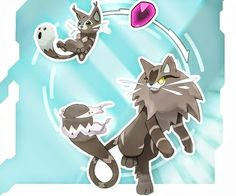 Meowl - the Ghoul Pokemon Meowdium - the Spirit Trap Pokemon (Ghost/Fairy type) Cat Pokemon, Pokemon Fake, Pokemon Pokedex, Pokemon Memes, Pokemon Sun, Pokemon Fusion Art, Pokemon Fan Art, Cartoon Monsters, Original Pokemon