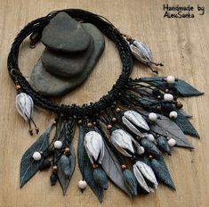 Leaf jewelry Black white jewelry Autumn jewelry Polymer clay jewelry for women Beautiful jewelry Bib necklace Black necklace Dangle earings
