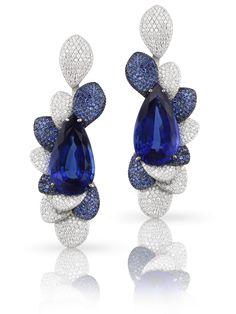 Pasquale Bruni - Orecchini in oro bianco con tanzanite, pavè di zaffiri blu e diamanti