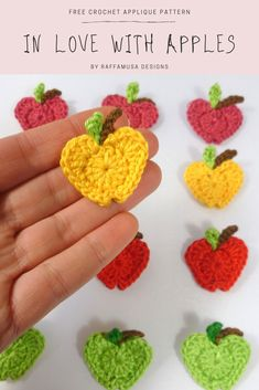 In Love with Apples Crochet Applique - an easy and quick crochet applique, a great addition to your kitchen accessories, back-to-school, and baby items. In Love with Apples Crochet Applique Crochet Applique Patterns Free, Free Crochet, Free Pattern, Knitting Patterns, Crochet Appliques, Crochet Toys, Crochet Embellishments, Simply Crochet, Crochet Birds