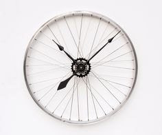 Recycled Bike Wheel clock by pixelthis on Etsy, $129.00