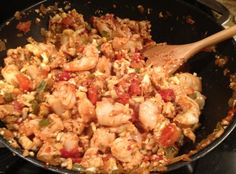 Cajun Jambalaya with Cauliflower rice. I would just leave out the chicken and sausage. But still sounds good!!!