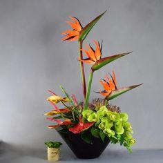 Artificial Tropical Arrangement in Black V Shape Planter is part of our range of fake orchid arrangements. Tropical Flower Arrangements, Orchid Arrangements, Tropical Flowers, Artificial Silk Flowers, Tropical Design, Planters, Things To Come, Shapes, Instagram