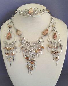 Leopardite stone necklace bracelet earrings set Peruvian alpaca silver