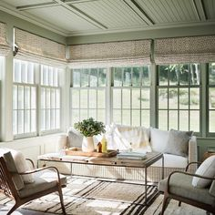 The best place to enjoy the last of the fall colors and this unseasonably warm weather is a bright sunroom like this! @rafechurchill @amandakirkpatrickphoto @farrowandball @janusetcie @studio534_boston @chrisbarretttextiles #kjdesignsllc #sunroom #farmhouse