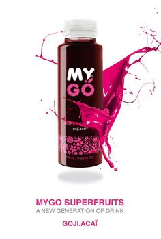 """""""MYGO is a new generation of drink, a superfruit juice, rich in antioxidants. It contains GOJI berry, an ancient Chinese medicinal fruit, often called """" the fruit of happiness"""". It is believed to stimulate and boost your fundamental energy. Mygo is also rich in Vitamin C, and is a healthy and effective alternative to current energy drinks.    Delicious fruit cocktail made of a combination of Blueberry and Gojiberry, a fruit with one of the highest concentrations of vitamin C, full of…"""
