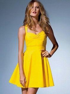 Cross-back yellow sundress Sexy Dresses, Cute Dresses, Dress Outfits, Summer Dresses, Cute Yellow Dresses, Yellow Sundress, Halter Sundress, Victoria Secret Dress, Victoria Dress