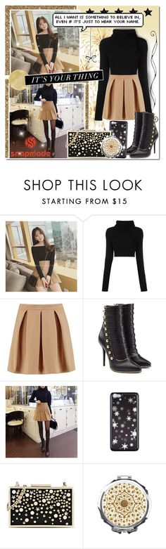 """Gold & Black Beauty // SnapMade"" by angelstylee ❤ liked on Polyvore featuring Rocho, Valentino, Boohoo, Balmain and Karl Lagerfeld"