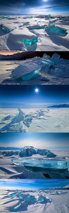 This vast white landscape is covered in a blanket of stunning ice sculptures which are creations of nature. The naturally formed ice blocks, named ice hummocks, have been created due to the extreme weather conditions. These hummocks are on Lake Baikal in Siberia, which holds one fifth of the world's fresh water.