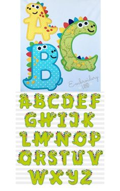 Cute Fonts Alphabet, Alphabet And Numbers, Dinosaur Alphabet, Dinosaur Birthday Party, Patch Design, Fathers Day Crafts, Toddler Crafts, Diy For Kids, Christmas Tree Ribbon