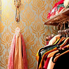Luxurious wallpaper makes a drab closet fab