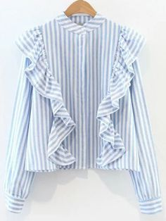 Shop Blue And White Striped Band Collar Ruffle Trim Blouse online. SheIn offers Blue And White Striped Band Collar Ruffle Trim Blouse & more to fit your fashionable needs. Casual Tops, Casual Shirts, Top Volant, Spring Fashion 2017, Striped Long Sleeve Shirt, Blouse Styles, Shirt Blouses, Couture, Blouses For Women