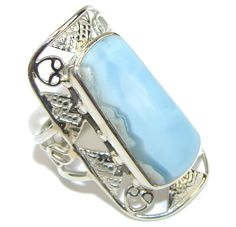 $60.25 Big! Delicate Blue Lace Agate Sterling Silver Ring s. 10 1/2 at www.SilverRushStyle.com #ring #handmade #jewelry #silver #agate