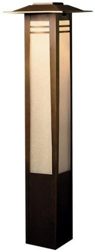 Kichler Lighting 15392OZ Zen Garden Bollard 12-Volt Path and Spread Light, Olde Bronze with Textured Amber Seedy Linen Glass by Kichler. Save 25 Off!. $312.00. From the Manufacturer                The Kichler Lighting 15392OZ Zen Garden Bollard 12-Volt Path and Spread Light has a minimal, arts and crafts design that combines with Far Eastern style and offers soft light with good spread for illuminating paths and walkways. Asian culture stresses a balance between one's self and one's envi...