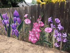 Paint large flowers on your she shed fence Garden Fence Art, Garden Mural, Diy Fence, Backyard Fences, Fence Ideas, Garden Beds, Fence Design, Garden Design, Design Design