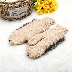 Women Girls Cute Cartoon Hedgehog Gloves Winter Warm Knit Outdoor Mittens
