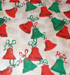 VTG CHRISTMAS WRAPPING PAPER GIFT WRAP MID CENTURY ATOMIC AGE BELLS AND RIBBON