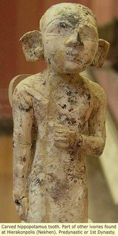 Prehistoric Egypt - Carved hippotamus tooth.Part of the ivories found in Hierakonpolis (Nekhen) Predynastic or 1st Dynasty
