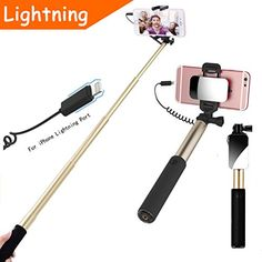 Selfie Stick [iPhone Lightning]YooGoal Extendable Wired Selfie Stick Cable Control (No Bluetooth No Battery) Self-portrait Monopod with Mirror for iPhone 7/7 Plus/6/6 Plus/6S/6S Plus/5/4 (Gold)