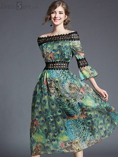 ad667425e650 Chic Slash Neck Hollow Out Flare Sleeve Floral Print Maxi Dress Ράψιμο