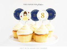 Printable Beauty & The Beast Cupcake Toppers, Editable Princess Belle Party Circles, Print at Home Princess Party Decor, 0113 by ThePaperFoxStudioZA on Etsy Christmas Printables, Party Printables, Princess Belle Party, Princess Party Decorations, Photo Frame Prop, Beauty And The Beast Party, Cinderella Birthday, Custom Stationery, Gift Tags Printable