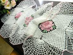 Crochet Table Runner  Pink Raised Roses  by VintageKeepsakes