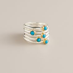 Sterling Silver and Turquoise Stackable Rings, Set of 6 | World Market
