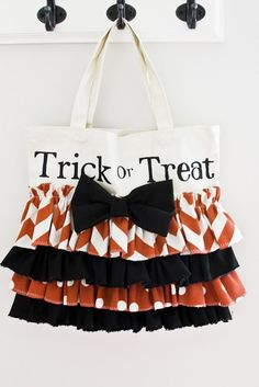 Cute Trick or Treat Bag! Made with a canvas tote and Halloween fabric.