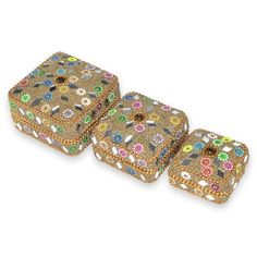 Indian Gift Home Decor Yellow Jewellery Boxes Handmade Lac Beaded Material Table Top Vintage Style Decorative Box Set of 3 Pcs Antique Pill Box DakshCraft http://www.amazon.co.uk/dp/B00ASIRV3I/ref=cm_sw_r_pi_dp_NGLfwb1X3H3G3