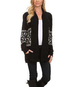 This BellaBerry USA Black & Cream Geometric Stripe Cowl Long Open Cardigan by BellaBerry USA is perfect! #zulilyfinds