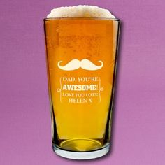 Moustache Pint glass! Perfect Father's Day Gift...