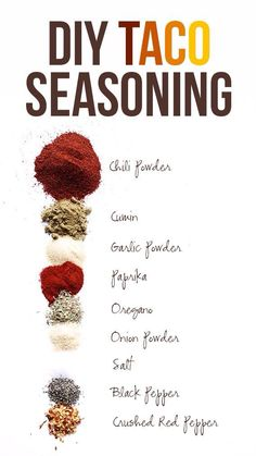 DIY taco seasonings. This is PERFECT! I'm always looking for ways to increase the flavor in my food without all the loaded salt that these companies put in the products!