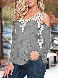 Gray Loose V-neck Lace Tops - WealFeel