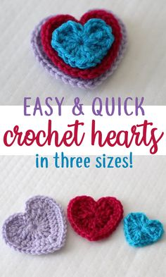 These quick and easy crochet hearts are so fun to make! Use them to make cute hair clips, or for a blanket. You could even make two of the same size and sew them together with a little poly fill stuffed inside and voila! You have a little plushy toy for kids! #crochetheart #hearts #quickpattern #easypattern #freepattern #howto #crochetproject #forbeginners #crochet #diy #crochetshape