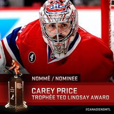 Price nominated for the Ted Lindsay award Montreal Canadiens, Hockey Trophies, Ted Lindsay, Hockey Boards, Nhl, Football Helmets, Sports, Athletes, Boyfriend