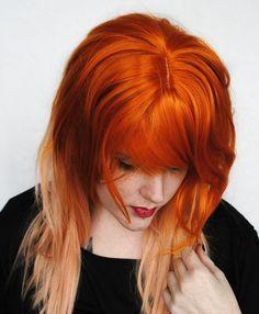 TANGERINE DREAM wig // Orange Ginger Auburn Red Honey Peach Blonde Hair // Straight Long Scene wig. $107.50, via Etsy.