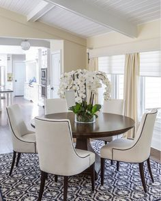 Centerpiece for Round Dining Room Table . Centerpiece for Round Dining Room Table . Elegant Dining Room, Dining Room Design, Elegant Dining, Dining Room Furniture, Small Dining, Carpet Dining Room, Round Dining Table Decor, Round Dining Room Table, Home Decor