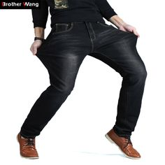 Check current price Brother Wang Brand Men's Casual Jeans High Elastic Cotton Straight Trousers 2017 New Plus Size Fashion Male Jeans 40 42 44 46 48 just only $26.79 with free shipping worldwide  #jeansformen Plese click on picture to see our special price for you