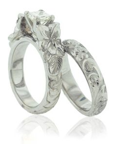 Brilliant Solitaire Bridal Set In White Gold With Uniquely Etched Plumeria Fl Scroll Design Encircling The Band From Philip Rickard Honolulu Oahu