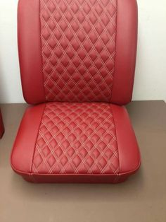 Colin Rouse bently stiched splitscreen cab seats in red leather