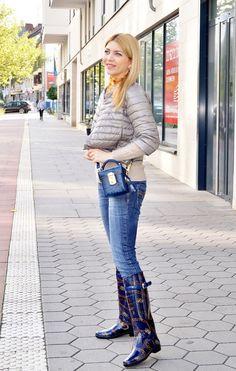 Leichte Daunenjacke, Mini Box Bag & Gummistiefel