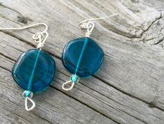 Czech glass earrings Dark teal blue glass beads by CraneyIslandFog