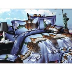 Modré posteľné obliečky s motívom veľkomesta - domtextilu. Comforters, Bed, Blankets, Home, Creature Comforts, Quilts, Stream Bed, Ad Home, Blanket