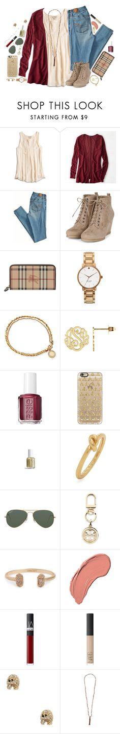 """""""I'm happier with you."""" by kaley-ii ❤ liked on Polyvore featuring Lucky Brand, American Eagle Outfitters, Burberry, Kate Spade, Astley Clarke, Essie, Casetify, Lilly Pulitzer, Ray-Ban and Tory Burch"""