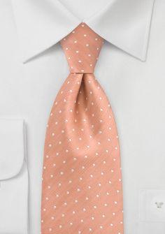 Designer Polka Dot Tie in Pastel Orange $20