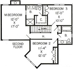 Second Floor Plan of Country   Farmhouse  Traditional   House Plan 20064