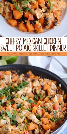 This cheesy Mexican chicken sweet potato skillet meal is not only quick and healthy but look at those colors! Its pretty AND delicious! Sweet Potato Recipes Healthy, Healthy Dinner Recipes, Mexican Food Recipes, Cooking Recipes, Supper Recipes, Milk Recipes, Cooking Ideas, Crockpot Recipes, Vegetarian Recipes