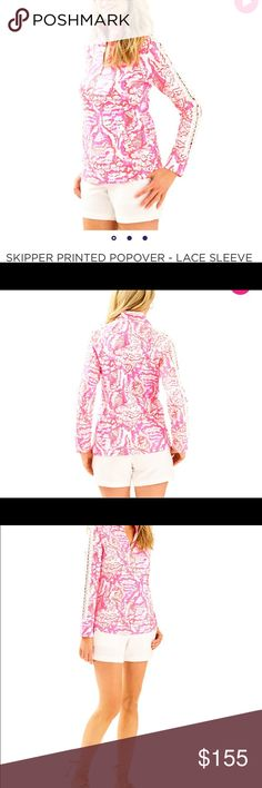 Lilly Pulitzer Popover Lilly Pulitzer Popover with Lace Sleeves.Long Sleeve Half Zip Pullover With Raglan Sleeves, Welt Pockets And Lilly Lace Sleeve Detail. Flat French Terry-Printed (96% Cotton, 4% Spandex). Machine Wash Cold. Lilly Pulitzer Tops Button Down Shirts