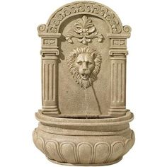 Create an elegant oasis in your yard with this regal lion head wall fountain. high x 20 wide x 10 deep. Lion wall fountain from the John Timberland brand. Design mounts to a garden or patio wall. Style # at Lamps Plus. Outdoor Waterfall Fountain, Outdoor Wall Fountains, Indoor Fountain, Garden Fountains, Outdoor Walls, Water Fountains, Outdoor Spaces, Indoor Outdoor, Lavabo Exterior